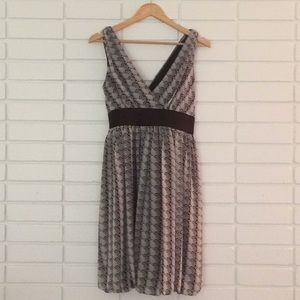 London Times Grey & Black Print Empire Waist Dress
